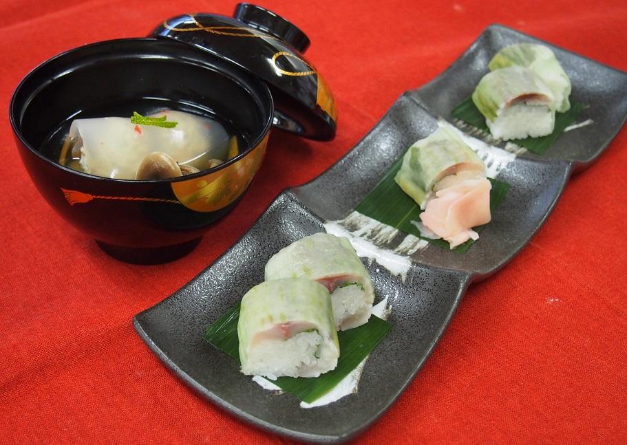 鯵の棒寿司、鯵のつみれ汁