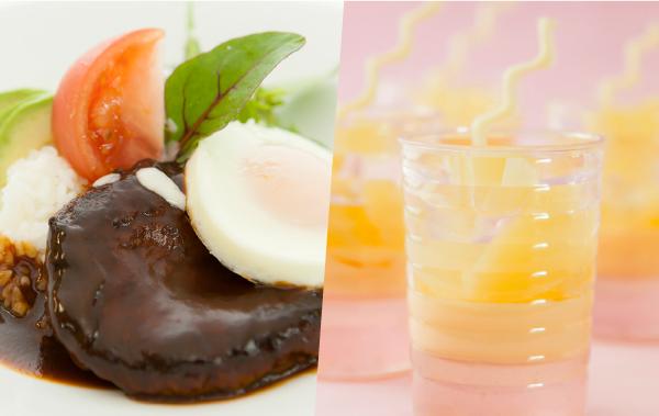 ロコモコ丼/白桃のゼリー