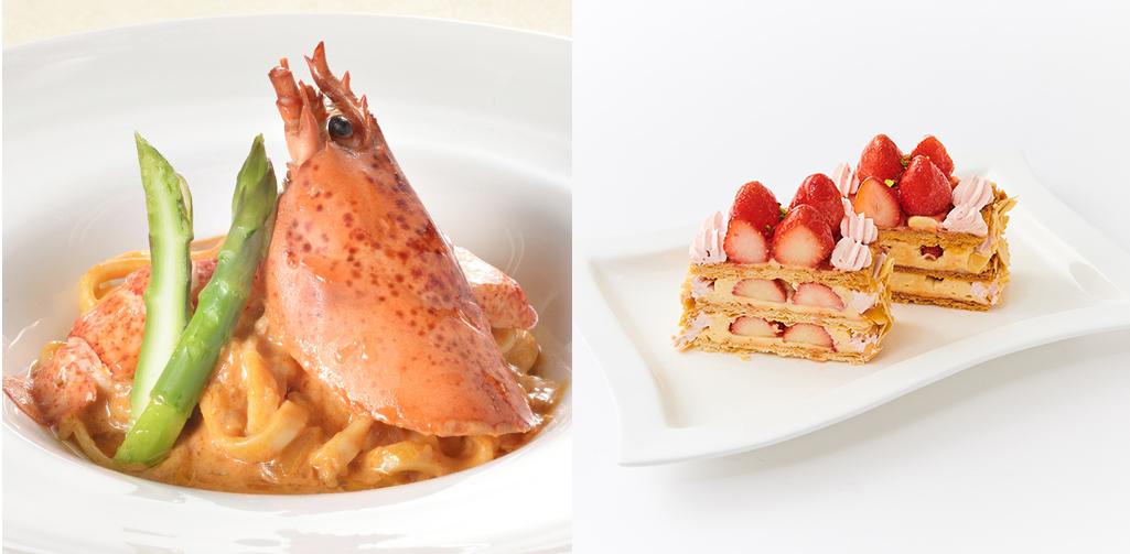 (調理)オマールのパスタ  (製菓)苺のミルフィーユ