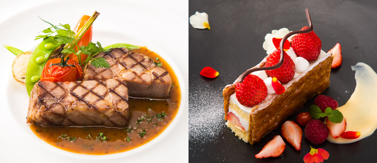 調理:ポークのグリル・製菓:苺のミルフィーユ