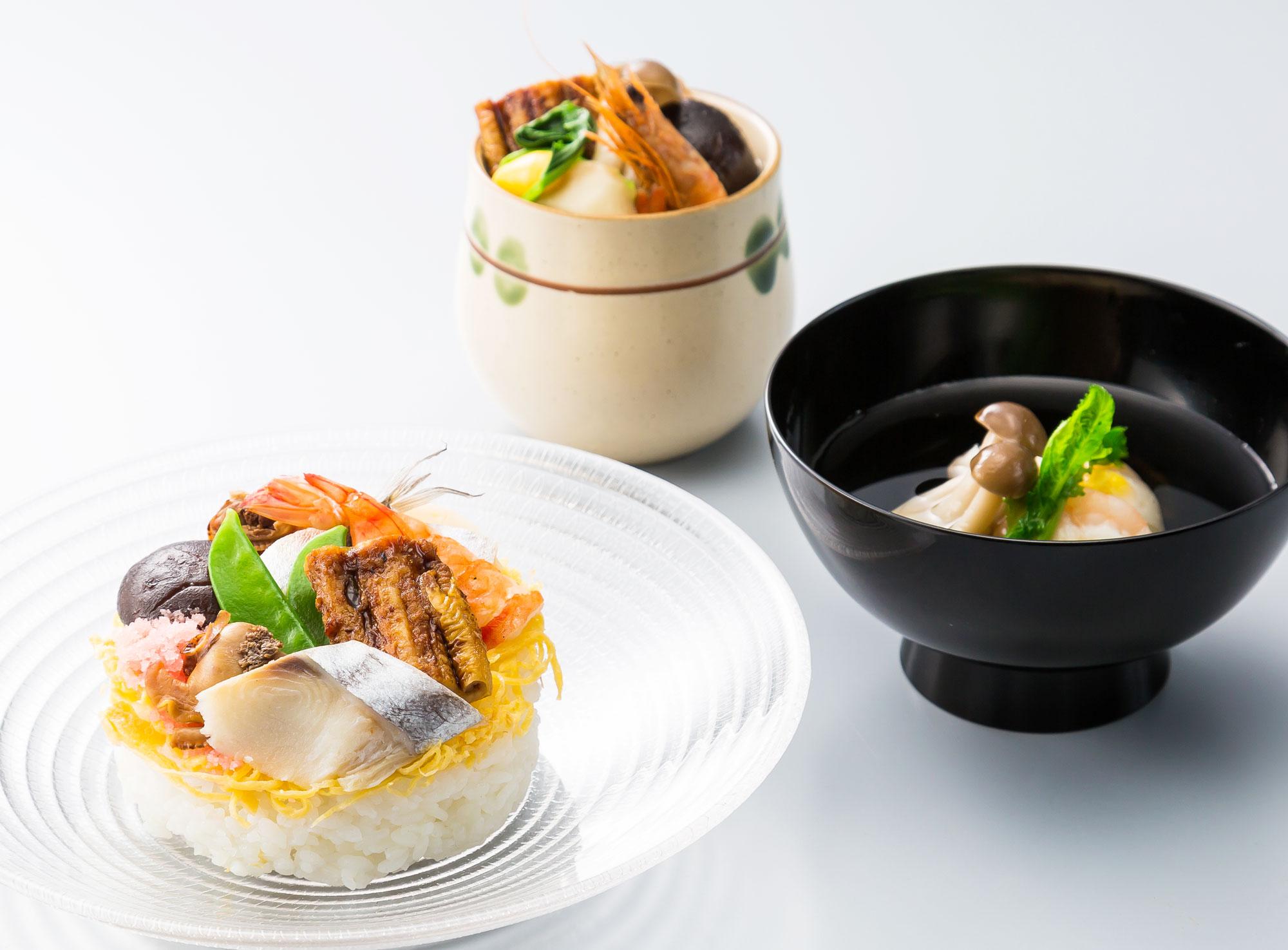 茶碗蒸し・お吸い物・隠し寿司